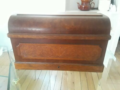 Antique Wheeler & Wilson D-9 treadle wood coffin top only (P650) p2