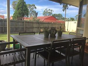 Shabby Chic Ikea 6 seater table with 6 chairs . Outdoor Dining setting Wattle Grove Liverpool Area Preview