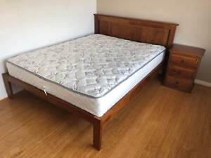 Queen Bed frame, mattress and bedside drawers