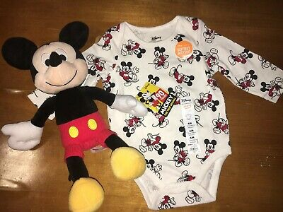 DISNEY Mickey Mouse Best Gift Ever Bodysuit Sz 6 Months NEW + 90 Yr Plush