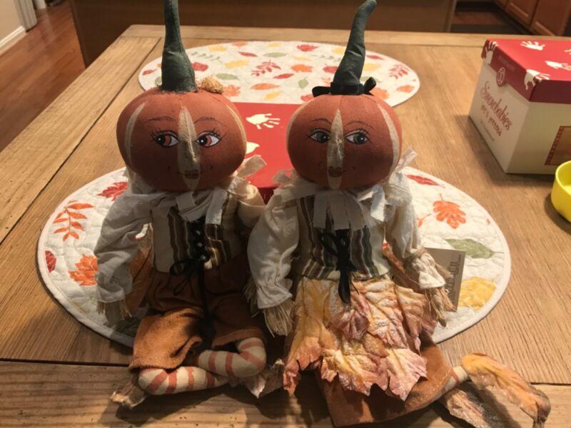 Joe Spencer Gathered Traditions Pumpkin Dolls Halloween/Thanksgiving