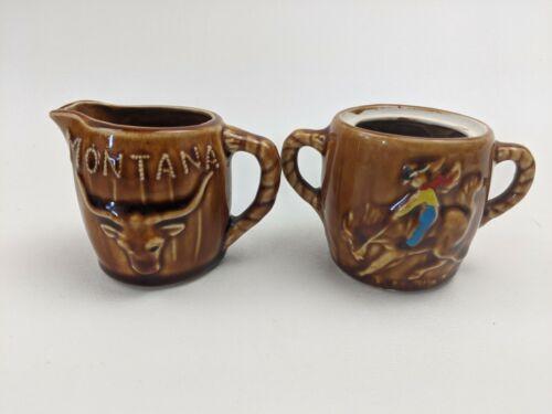 Montana sugar bowl creamer pitcher set Cowboy bull Rodeo western souvenir 2.5in