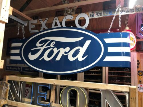 HUGE! Vintage FORD Double Sided SIGN Car Truck DEALERSHIP Dealer MANCAVE Garage