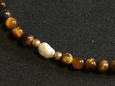 """Bracelet Tigers Eye and Fresh Water Pearls Gold Ball Beads 6"""""""