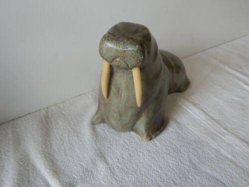 Canadian Art Carved Stone Walrus Sculpture