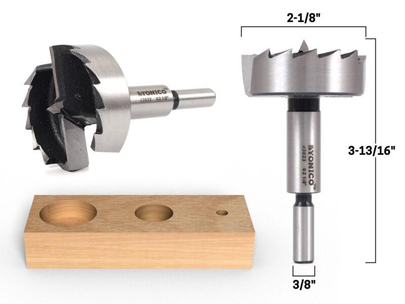 """2-1/8"""" Diameter Steel Forstner Drill Bit - 3/8"""" Shank - Yonico 43033S"""
