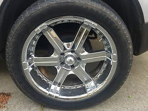 "Set of 5 20"" Chrome rims and tires $600 Obo"