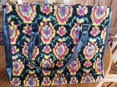 1940s Handbags and Purses History Amazing Gorgeous Vintage Carpet Bag Chenille Type Leather Purse Handbag 1940s  $49.99 AT vintagedancer.com
