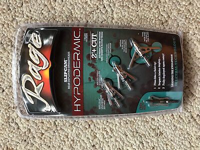 "Rage Hypodermic Slipcam mechanical Broadheads 100 grain 2""+ cut steel ferrule"