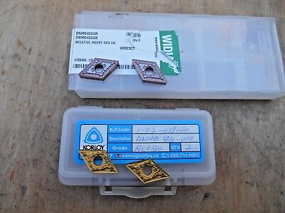 WIDIA DNMG 432 UR ,WM25CT AND KORLOY DNMD 432-VM NC5330 , LOT OF 4 INSERTS