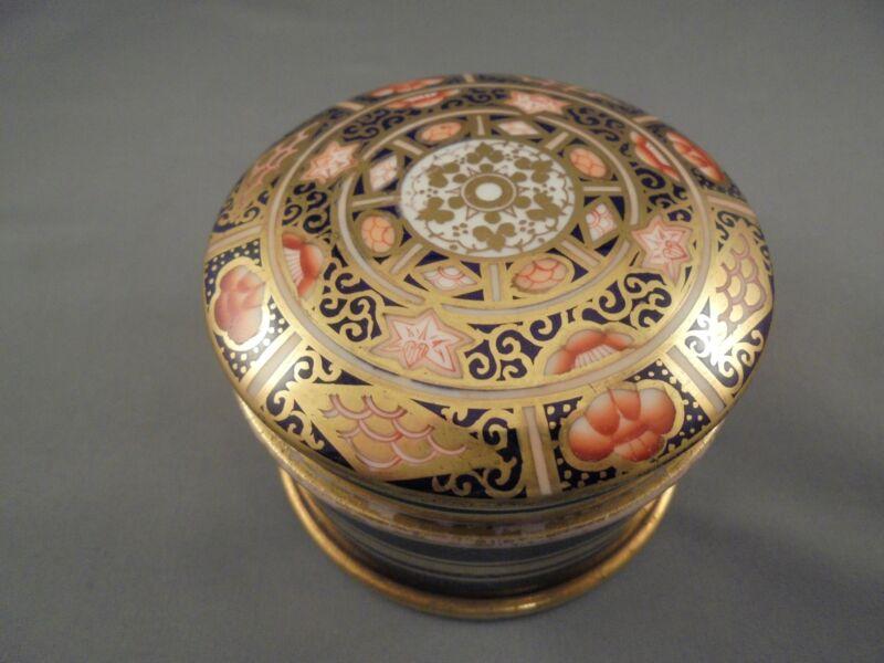 Antique English Imari Porcelain Covered Pomade Trinket Dresser Jar or Box