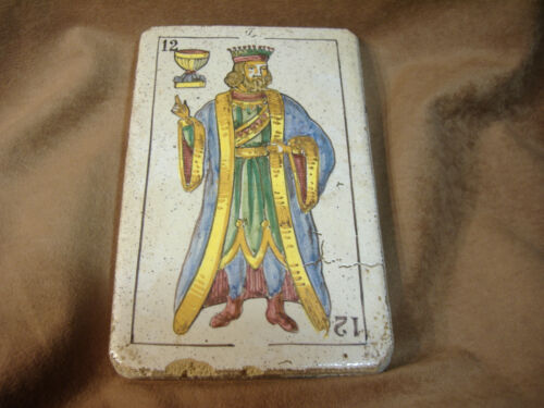 """EARLY KING OF CUPS HAND PAINTED TILE - HEAVY POTTERY  -8 X 5"""""""
