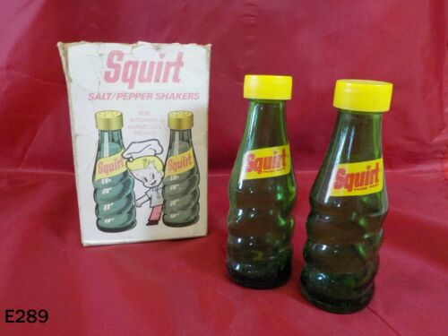 Vintage SQUIRT Soda Bottle Salt & Pepper Shakers