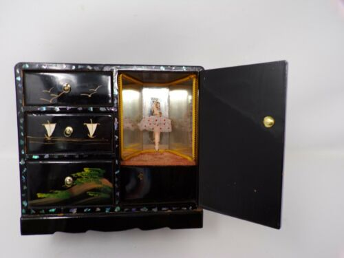 Vtg Asian Japan wood lacquer jewelry box w mirror ballerina WORKS music 383