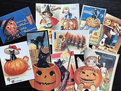 BB93 -- Lot of 12 Vintage Halloween Greeting Card  DIE CUTS for CARD MAKING ](Making Halloween Cards)