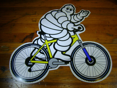 "Michelin Tire Bib Man on a Bicycle 12"" x11"" printed plastic store POP display"