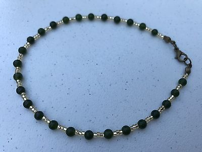 HDMD by Cyndi Ankle Bracelet - Deep Green Round Stones and Gold Czech Seed Beads