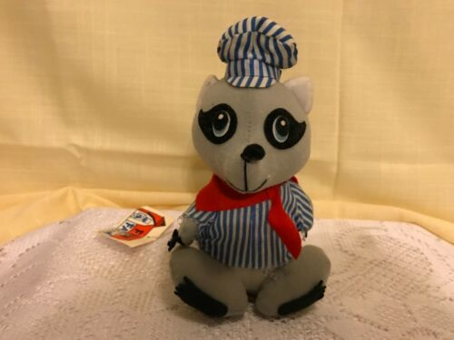 1979 FUN FARM VINTAGE TRAIN CONDUCTOR RAILROAD WHISTLESTOP RACCOON PLUSH