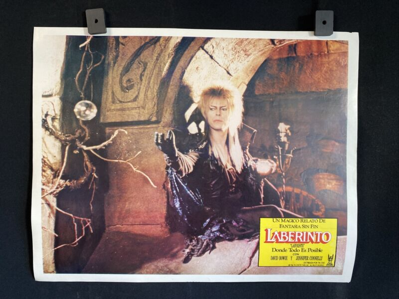 "1986~LABYRINTH~ David Bowie~ Jennifer Connelly~ Authentic MX Lobby Card~14""x11"""