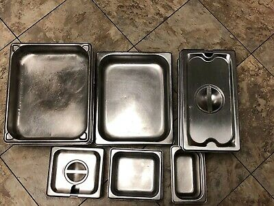 Lot Of 15 Pieces Stainless Steel Steam Table Pans Lids