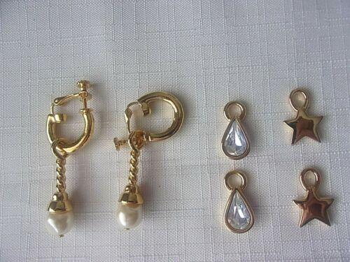 Joan Rivers Gold Tone Hoop Dangle Interchangeable Clip Earrings