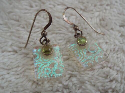 Sterling Silver Square Glass Bead Pierced Earrings (F18)