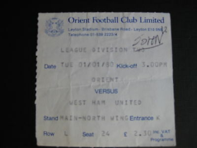 ORIENT v WEST HAM UNITED  01/01/1980 USED TICKET
