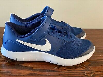 BRAND NEW Nike Blue Canvas Leather Sneakers Athletic Shoes Velcro Boys 1Y
