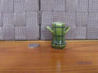 "Decorative miniature bud vase green blue stripe design ceramic Italy 1.75"" tall"