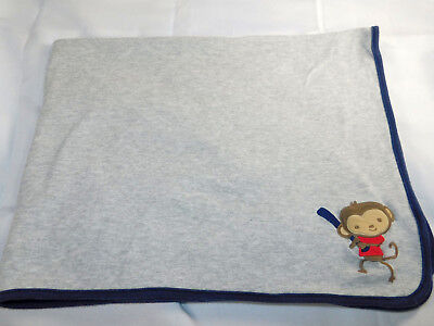 Carters Monkey Baseball Play Gray Receiving Blanket 24