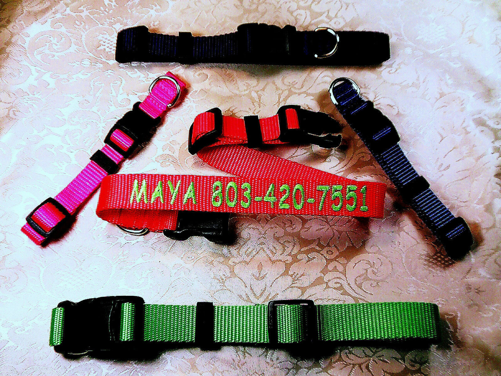 Personalized  Embroidered Dog Collar, Up To 24 Letters