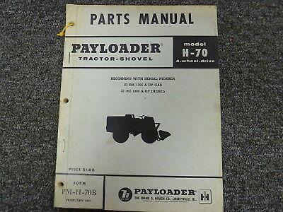 International Hough Ih H70 4wd Pay Loader Tractor Shovel Parts Catalog Manual