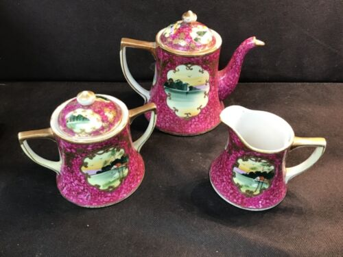 JAPAN POTTERY TEA SET  Antique China HAND PAINTED POTTERY