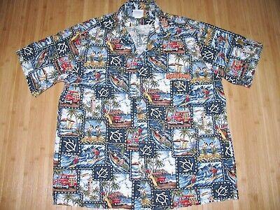 GORDON BIERSCH Shirt HAWAIIAN Size LARGE Cotton HONOLULU BREWERY Surfer HULA Custom Hawaiian Shirt