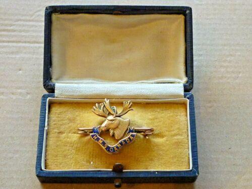 FINE ANTIQUE 9ct GOLD ENAMEL BADGE WORLD WAR ONE H.M.S. CANADA SWEETHEART BROOCH
