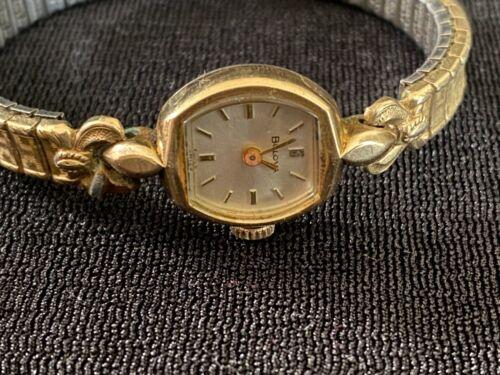 Vintage Bulova Swiss Ladies M8 10K Gold Watch Jewelry Timepiece Stretch Band