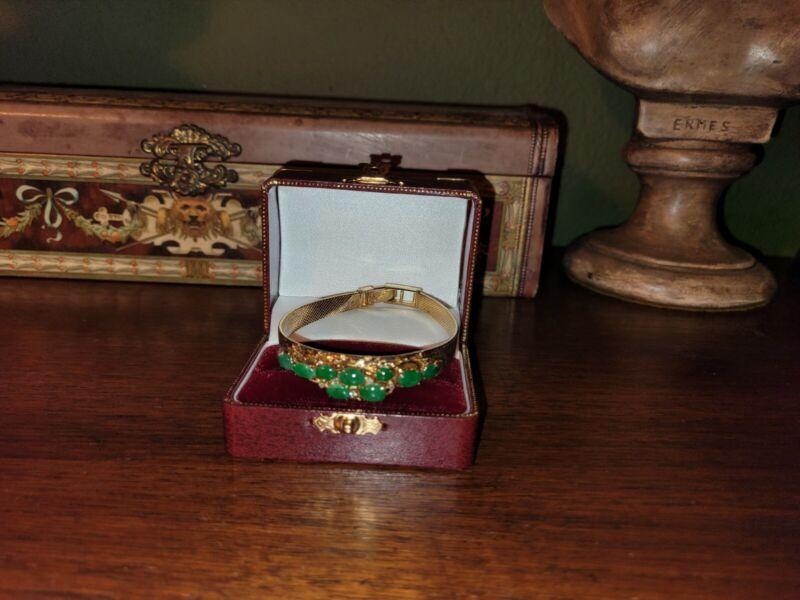 Vintage Green Jade Gold Plated Bracelet