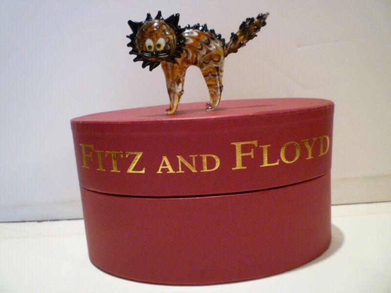 Fitz and Floyd Glass Menagerie 2005 Halloween Cat 643/49 NIB RARE!