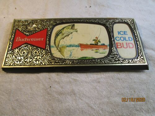 vintage 1960s rare budweiser beer fishing sign