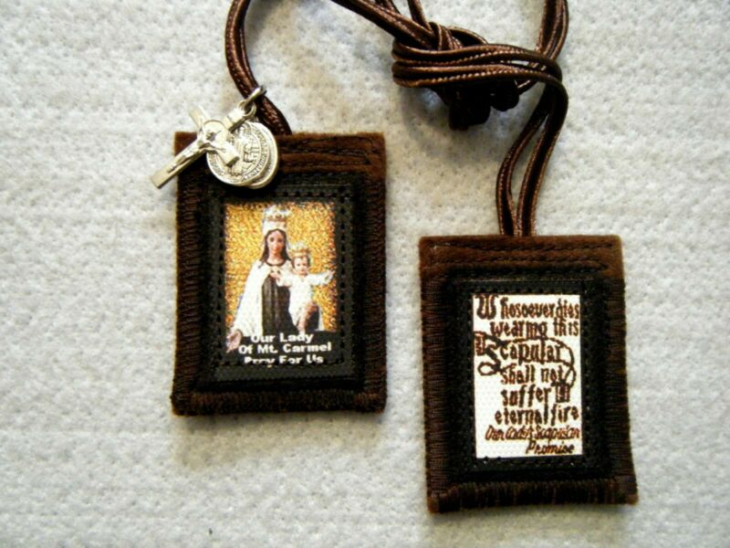 Gold Our Lady of Mt. Carmel Brown Scapular 100%Wool Handmade in USA