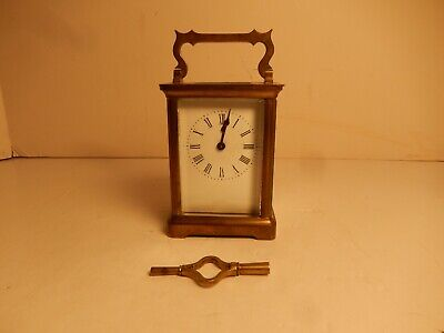 Vintage Classic Antique French Brass Cased Glass Carriage Clock Works Fine & Key