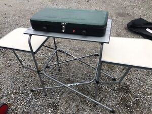 Foldable table and Coleman stove