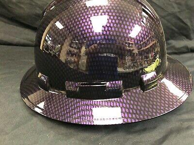 New Full Brim Hard Hat Custom Hydro Dipped Purple Candy Carbon Fiber. Free Ship