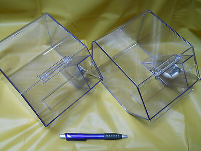 Jumbo Clear Bins with Silver plastic scoop set of 6