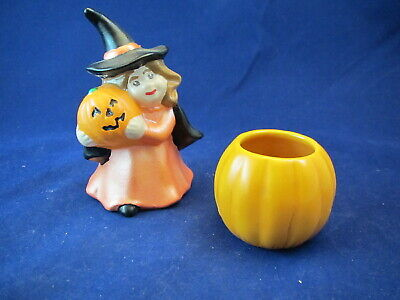 Vintage 1970s Ceramic Halloween Decorations- Witch- JOL- Pumpkin   - Ceramic Halloween Decorations