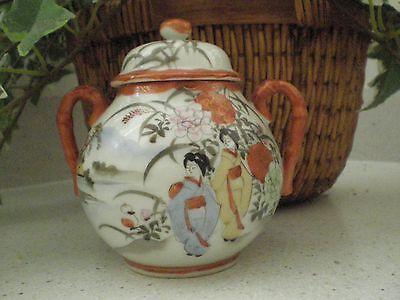 Vintage Japanese Kutani Sugar Bowl Porcelain late Meiji Period hand painted