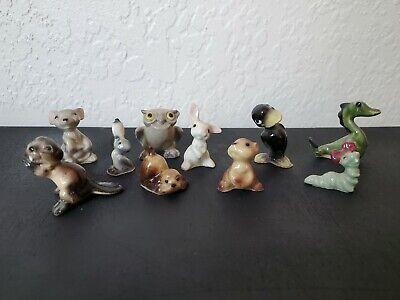 Hagen Renaker Miniature  Figurine Lot OF 10 Dragon Owl Crow Rabbit Beaver Mouse