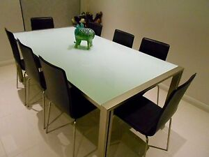 Stylish Opaque Glass  & Steel Table and 6 Leather Chairs Hurstville Hurstville Area Preview