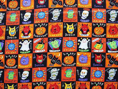 Happy Halloween,Goblin,Bat,Devil,Witch  Quilt  Cotton Fabric by 18