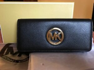 100% GENUINE MICHAEL KORS BLACK FULTO CONTINENTAL WALLET PURSE